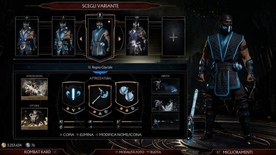 Mortal Kombat 11 Personalizzazione Sub-Zero